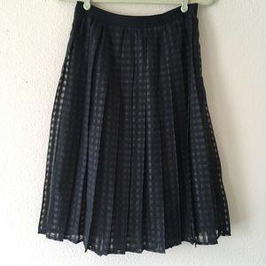 Elle Black Sheer Gingham Pleated Skirt